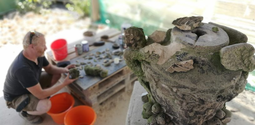stone mineral repairs to damaged urn